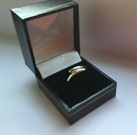 9ct white gold and five diamond cross over ring, full hallmarks size M