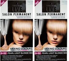 2 X SCHWARZKOPF LIVE SALON PERMANENT HAIR COLOUR 9.52 PEARL LIGHT BLONDE MIX NEW