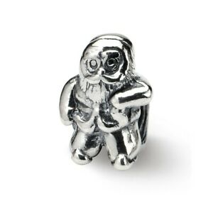 Santa Claus Bead .925 Sterling Silver Antique Finish Reflection Beads