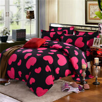 Cozy Heart Print Bedding Set Duvet Cover Comforter Cover Pillow Case