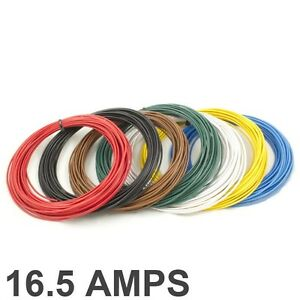 *16.5 AMP Rated* 1mm2 Thin Wall Single Core Cable / Wire - 7 Colour Selection