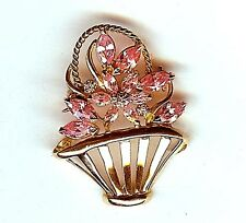 VINTAGE 14KT GOLD DIAMOND PINK STONE WHIMSICAL BASKET PIN