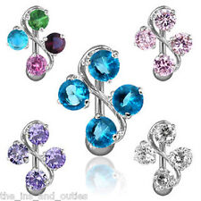 Reverse Vine CZ Gem Belly Ring Navel Naval Clear,PInk,Aqua,Purple,White/Rainbow