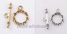 Lot Tibetan silver Lacework Circle Toggle Clasps Making Jewelry Findings 30 sets