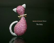 Kitty - 18K(750) white rose gold pink sapphire diamond design pendant / brooch