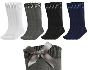 New Girls Up to 3 Pk Value Knee High Bow Detail Back 2 School Cotton Rich Socks
