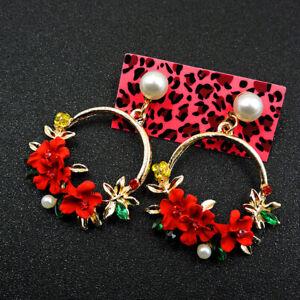 Hot Betsey Johnson Red Enamel Cute Pearl Flower Crystal Stand Earrings Gifts
