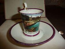 #1222 vtg souvenir mini cup &  saucer JUNGFERN  HAMBURG  Germany