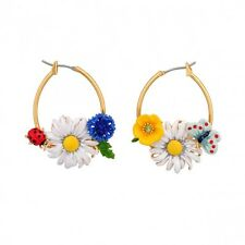 Les Nereides Bucolic Butterfly Ladybug and Daisy Hoop Earrings