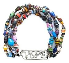 Fair Trade Recycled Paper Beads Bracelet with Stainless Steel Charm HOPE