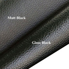 Lichee Grain Faux Leather Leatherette Material PVC Vinyl Uphplstery Fabric Craft Gloss Black Metre (100 X 137cm)