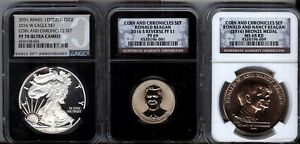2016  3 PC COIN & CHRONICLES SETS - NGC  - PROOF 70, 69 & MS68