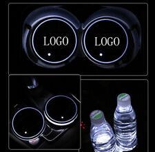 2PCS LED Car Cup Bottle Holder Pad Mat Fit For BMW M Auto Atmosphere Lights Deco
