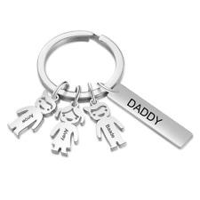 Male Personalized Name Boy Girl Keychains with Daddy Bar Charm Children Keychain
