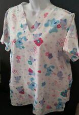 BLUES CLUES Scrub Top Medical Nurse Aide Pediatric Size Small Short Sleeves EUC