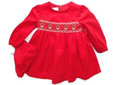 Girls NWT Bonnie Baby Smocked Holiday Wreath Red Dress 12 mos Portrait NEW