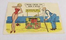 Vintage Paper Ephemera, Postcard, 1961, Laff Gram, I wish, I wish Wishing Well