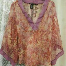 ( Ref 2069 ) Pierre Cardin - Size M UK 10 12 - Pink 3/4 Sleeve V Neck Sheer Top