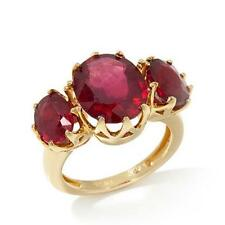 Rarities Carol Brodie Oval Ruby 3-stone Prong-set Vermeil Ring Size 7 HSN $259