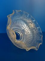 """Vintage Ruffled Edge Ribbed Clear Lamp Shade 21/8"""" Fitter 12 point 7 x 4.5"""" (L10"""