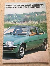 Opel Ascona B & Manta B 2-Litre 1978 Original UK Foldout Sales Brochure