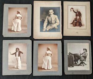 1900-10s Vaudeville Burlesque Theatre Oversized Mounted Photo Lot (17 pc) BB