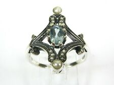 .50ct Natural Blue Topaz and Pearl Victorian Deco Sterling Filigree Ring 1001P