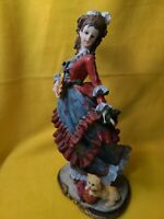 """13"""" Resin Statue Beautiful Victorian Lady Wearing Red And Blue Dress With Dog"""