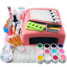 US Nail Art Tools Set 36W UV Lamp Dryer +12 Color UV Gel Nails Tips Polish Kit