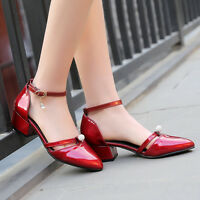 2017Sexy Pumps Women Buckle Strap Block Heels Pointy Toes Casual Plus Size Shoes