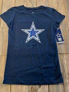 NWT Girls Dallas Cowboys Cute Navy Blue Short Sleeve Star Logo Shirt Large 12/14