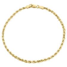 10K Gelbgold 2.50mm Hohl Diamantschliff Seil Link Armband/Fußkette 17.8-25.4cm