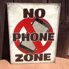 No Cell Phone Zone Sign Tin Vintage Garage Bar Decor Old