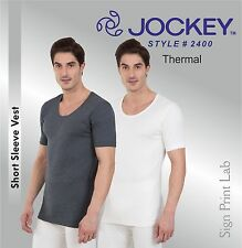 JOCKEY MEN THERMAL-SHORT SLEEVE VEST 2400-SNUG FIT- 2 COLOURS-LOW NECK-NO LABEL