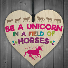 Be A Unicorn In Horses Novelty Wooden Hanging Heart Plaque Gift Friends Sign