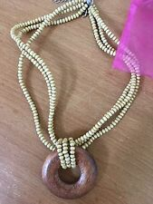 New Beautiful Cookie Lee Tan Wood Seed Bead Necklace With Pendant
