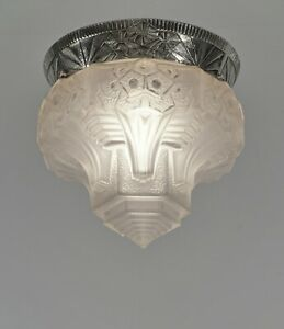 MULLER FRERES : FRENCH 1930 ART DECO FLUSH MOUNT ...... chandelier  lamp pendant