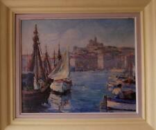 More details for marseille harbour french impressionist 1950's oil painting by binh-cirlot