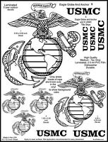 5 USMC Eagle Globe and Anchor Marine Emblem Decal Stickers. 1 3/4 - 6 1/2 inches