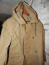 VINTAGE RUSSIAN SOVIET MILITARY WW2 tarpaulin Raincoat canvas Cloak with hood