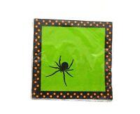 Spooky Spiders Green Orange Stripe Halloween Theme Party Paper Beverage Napkins