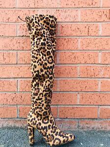 Footwear Sale Women's Knee High Heel Boots Leopard Pattern Zip Heel Shoes Size