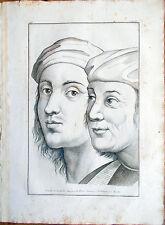 ✅Stampa incisione 1850s Raffaelle Sanzio e Pietro Vannucci del Perugino CLXXXI