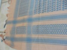 """NWOT Large, Hand Woven, Beige/Gray, Checked Scarf, 100% Cotton, India, 45"""" Sq"""