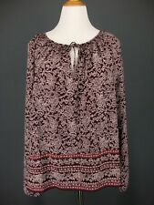 GAP Top 2XL Womens Purple Floral Paisley Peasant Blouse NEW NWT