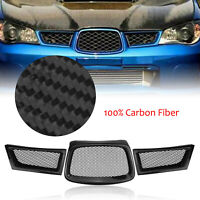 3x REAL Carbon Fiber Front Grill Grille For Subaru Impreza 9th WRX STI 2006-2007