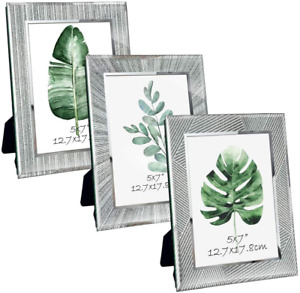 Giftgarden 7x5 Photo Frames, Sparkle Glass Silver Picture Frames 3 Pack Mirrored