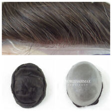 Mens Toupee Human Hair Replacement System for Men Wig All Thin Skin Hairpiece #3
