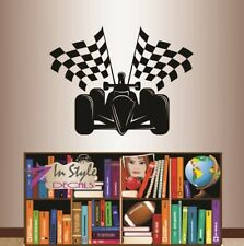 Vinyl Decal Sports Car Race Car with Checkered Flags Racing Wall Sticker 27