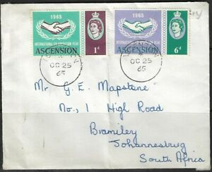Ascension 1965 QEII Cover Sent to Johannesburg, Ascension CDS Dated 25/10/65